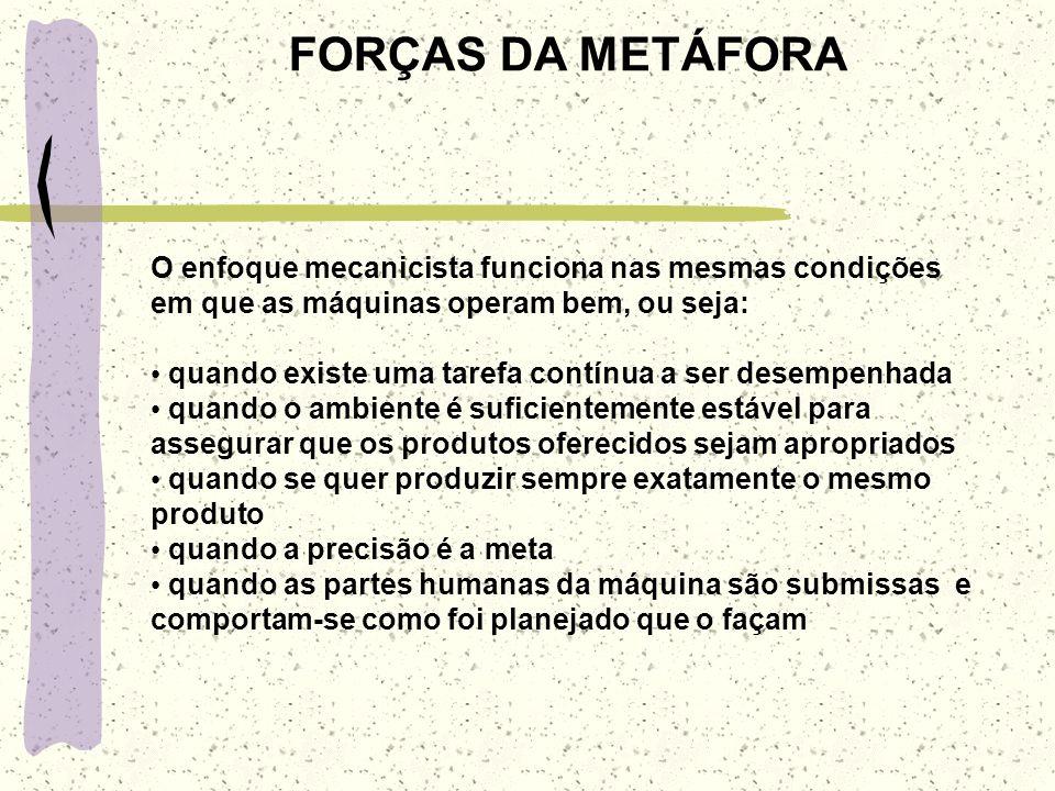 FORÇAS DA METÁFORA O enfoque mecanicista funciona nas mesmas condições em que as máquinas operam bem, ou seja: