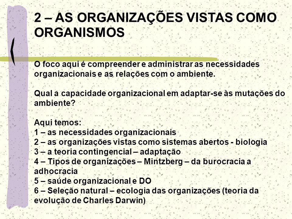 2 – AS ORGANIZAÇÕES VISTAS COMO ORGANISMOS