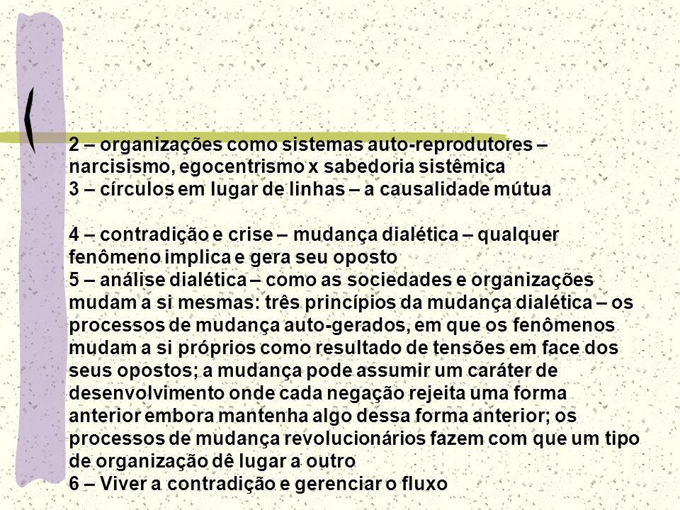 2 – organizações como sistemas auto-reprodutores – narcisismo, egocentrismo x sabedoria sistêmica
