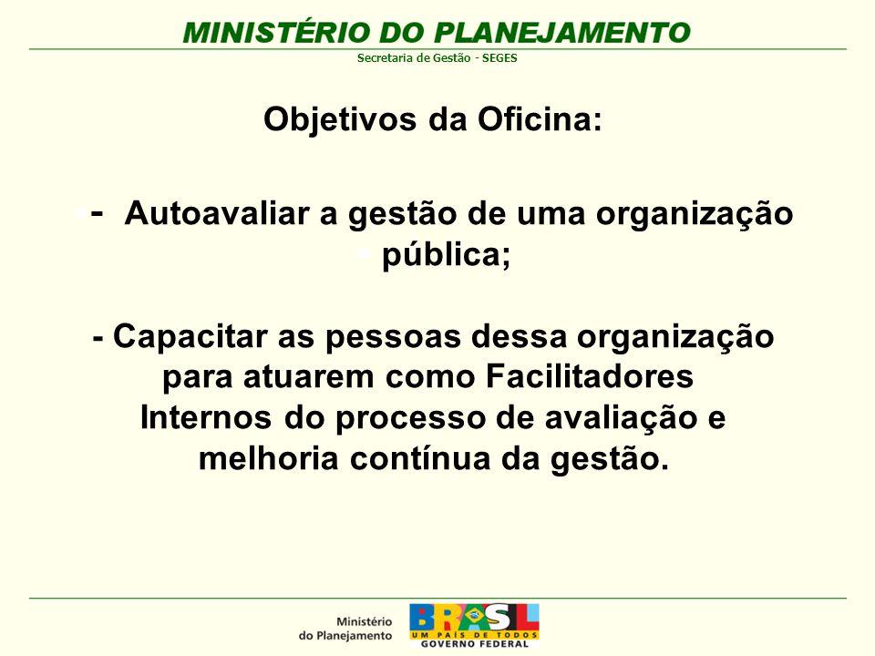 - Autoavaliar a gestão de uma organização pública;