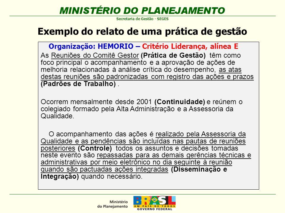 Exemplo do relato de uma prática de gestão