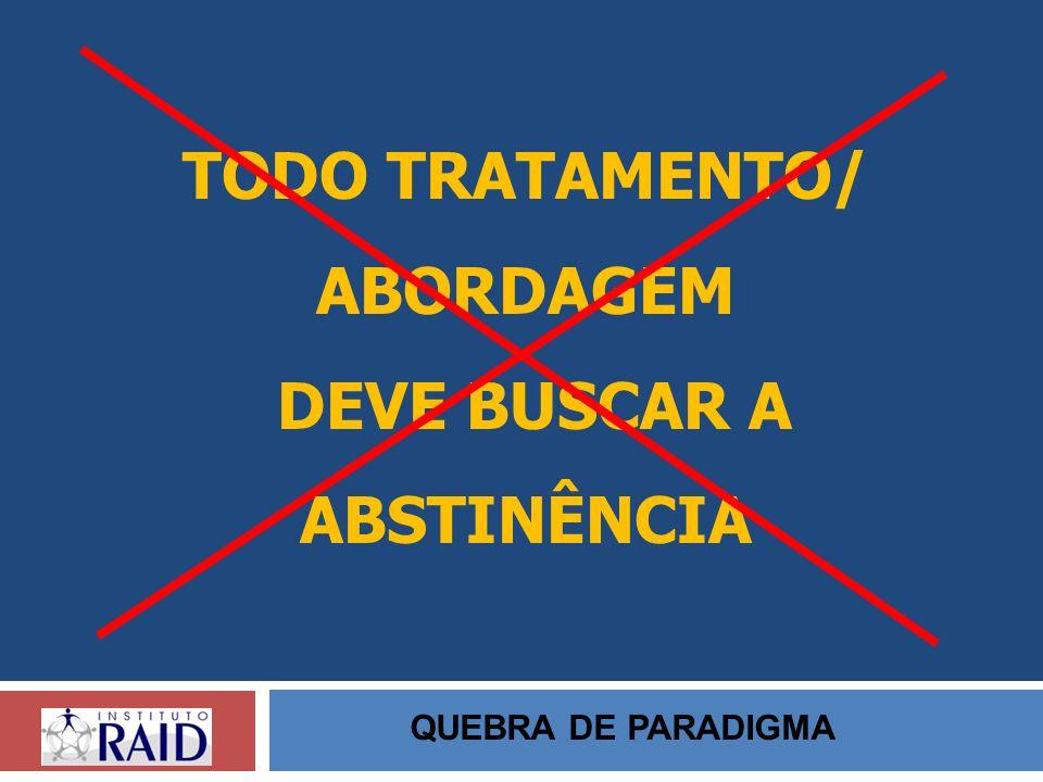 TODO TRATAMENTO/ ABORDAGEM DEVE BUSCAR A ABSTINÊNCIA