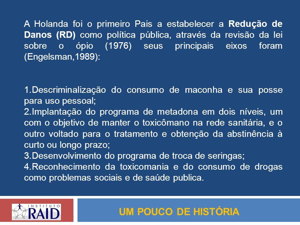 A Holanda foi o primeiro Pais a estabelecer a Redução de Danos (RD) como política pública, através da revisão da lei sobre o ópio (1976) seus principais eixos foram (Engelsman,1989):