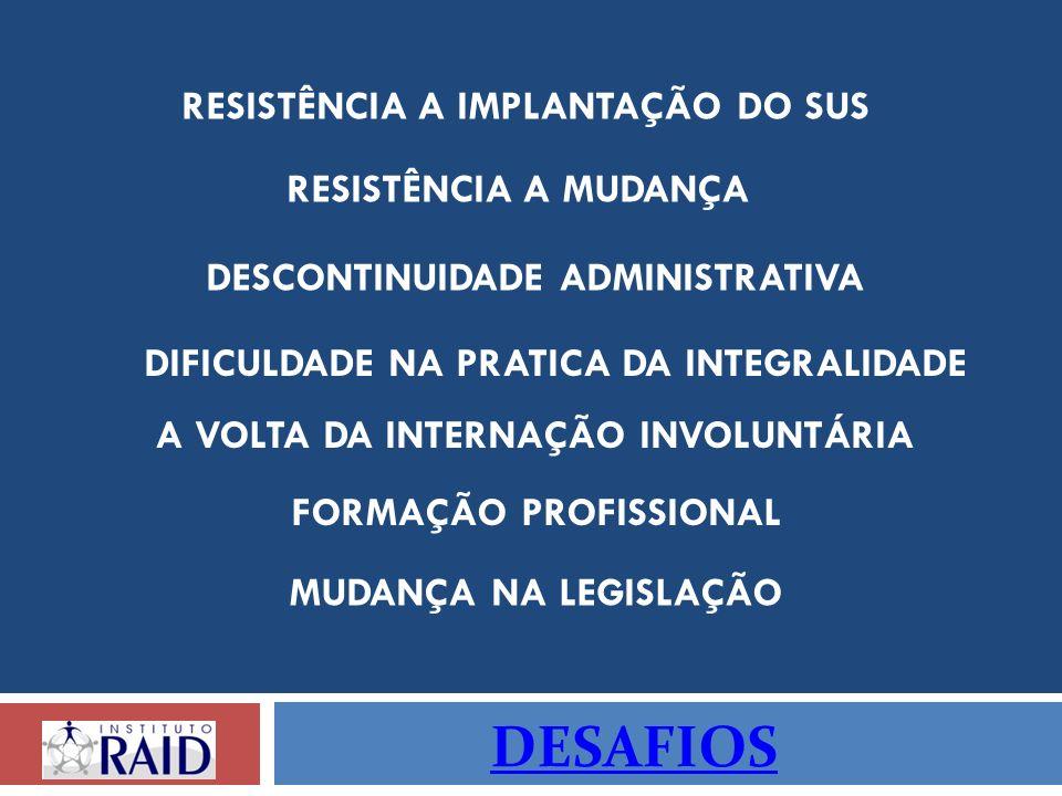 DESAFIOS RESISTÊNCIA A IMPLANTAÇÃO DO SUS RESISTÊNCIA A MUDANÇA