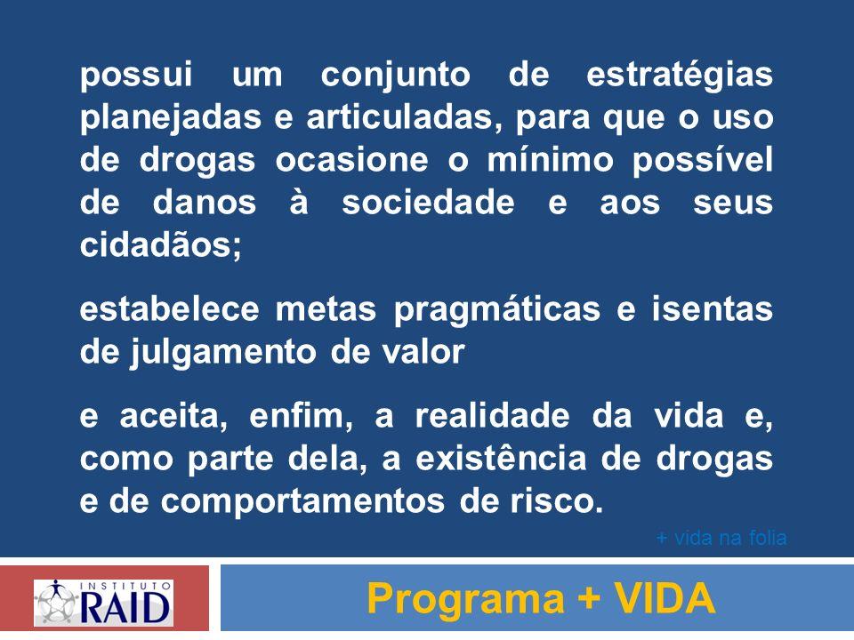 possui um conjunto de estratégias planejadas e articuladas, para que o uso de drogas ocasione o mínimo possível de danos à sociedade e aos seus cidadãos;