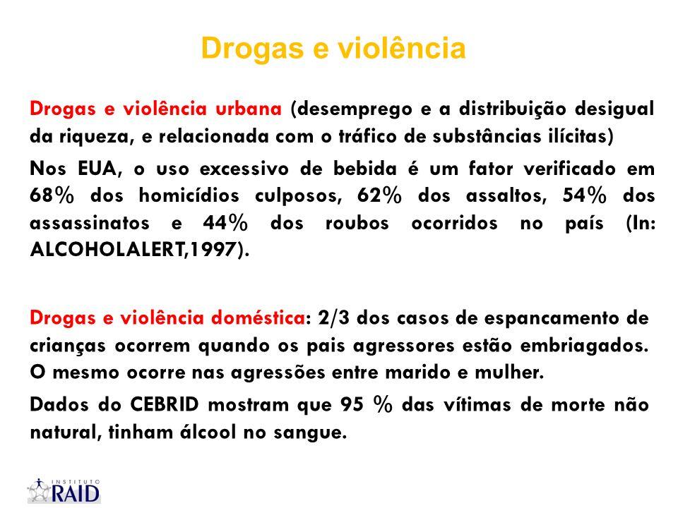 Drogas e violência Drogas e violência urbana (desemprego e a distribuição desigual da riqueza, e relacionada com o tráfico de substâncias ilícitas)