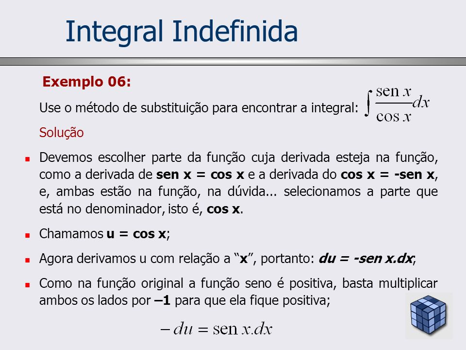 Integral Indefinida Exemplo 06: