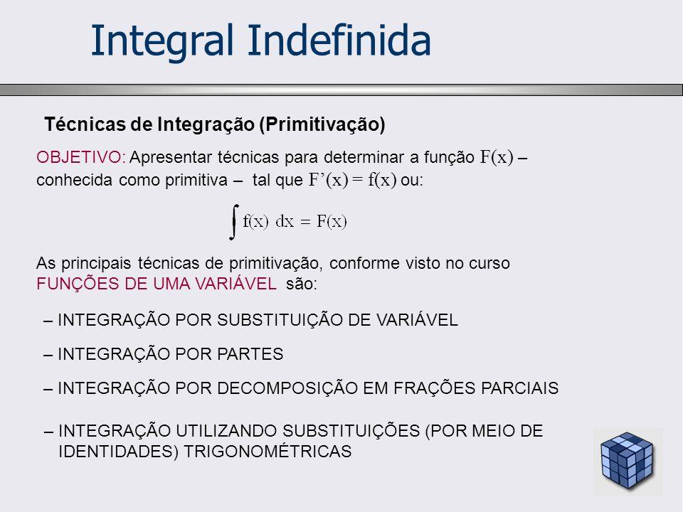 Integral Indefinida Técnicas de Integração (Primitivação)