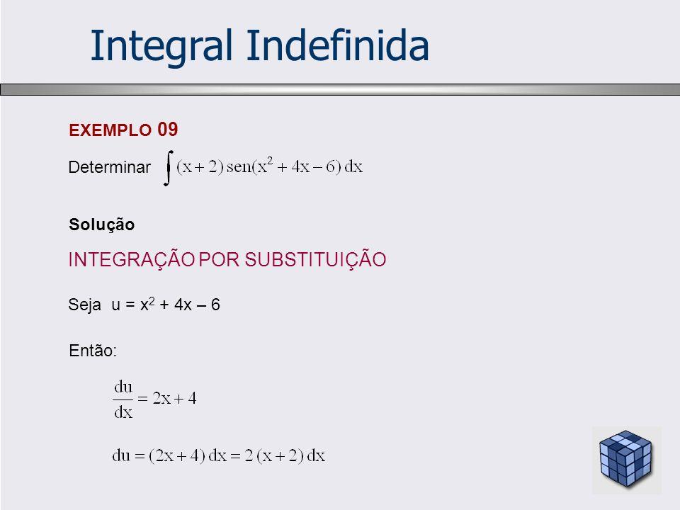 Integral Indefinida INTEGRAÇÃO POR SUBSTITUIÇÃO EXEMPLO 09 Determinar