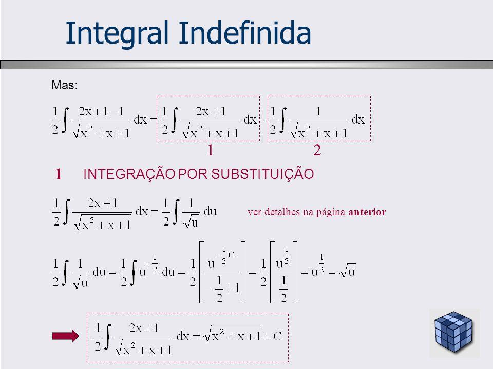 Integral Indefinida 1 2 1 INTEGRAÇÃO POR SUBSTITUIÇÃO Mas: