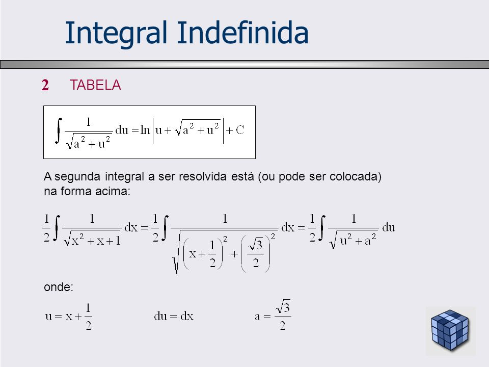 Integral Indefinida 2 TABELA