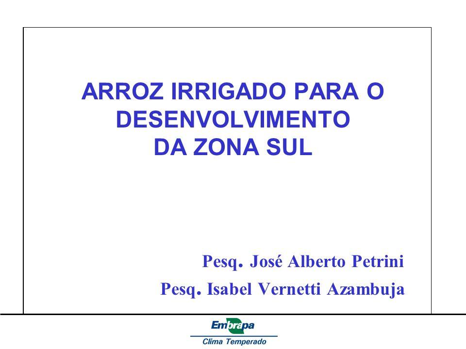 ARROZ IRRIGADO PARA O DESENVOLVIMENTO DA ZONA SUL Pesq