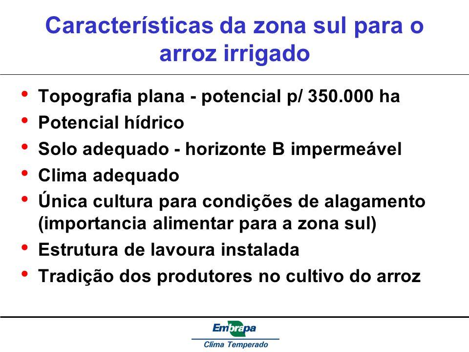 Características da zona sul para o arroz irrigado