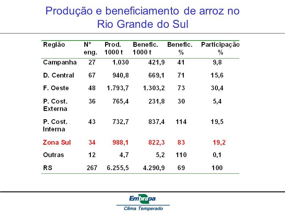 Produção e beneficiamento de arroz no Rio Grande do Sul