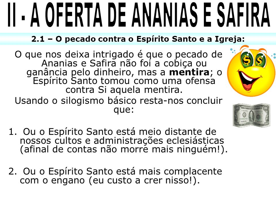 II - A OFERTA DE ANANIAS E SAFIRA