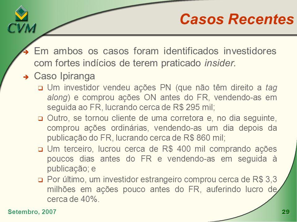 Casos Recentes Em ambos os casos foram identificados investidores com fortes indícios de terem praticado insider.