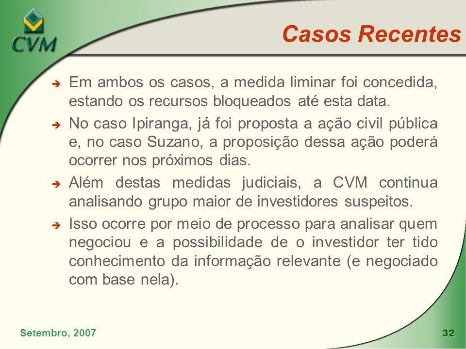 Casos Recentes Em ambos os casos, a medida liminar foi concedida, estando os recursos bloqueados até esta data.