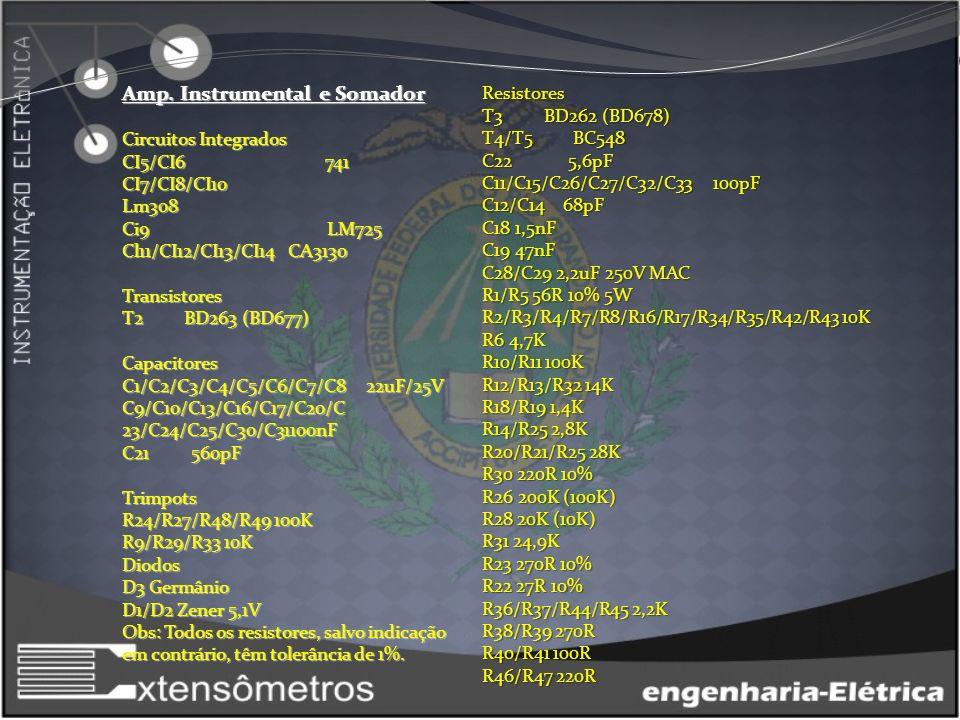 LISTA DE MATERIAL Amp. Instrumental e Somador Circuitos Integrados