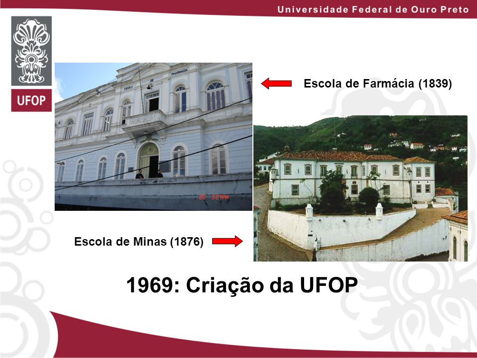 Escola de Farmácia (1839) Escola de Minas (1876) 1969: Criação da UFOP