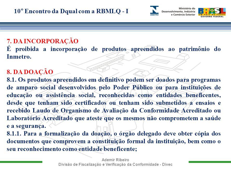 7. DA INCORPORAÇÃO É proibida a incorporação de produtos apreendidos ao patrimônio do Inmetro. 8. DA DOAÇÃO.
