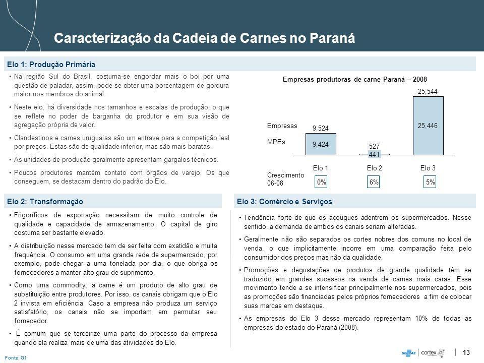 Empresas produtoras de carne Paraná – 2008