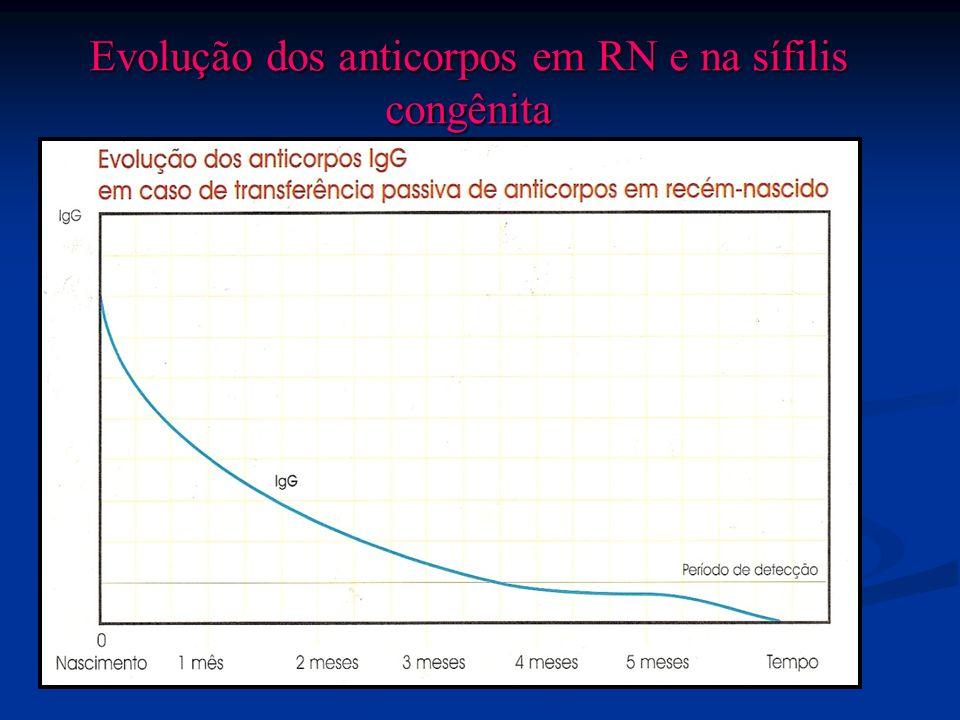 Evolução dos anticorpos em RN e na sífilis congênita
