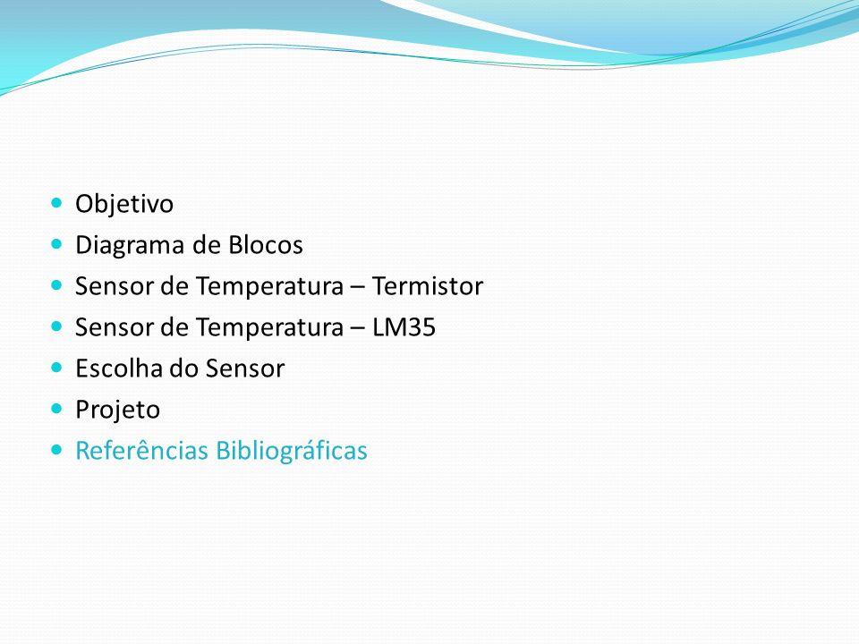 ObjetivoDiagrama de Blocos. Sensor de Temperatura – Termistor. Sensor de Temperatura – LM35. Escolha do Sensor.