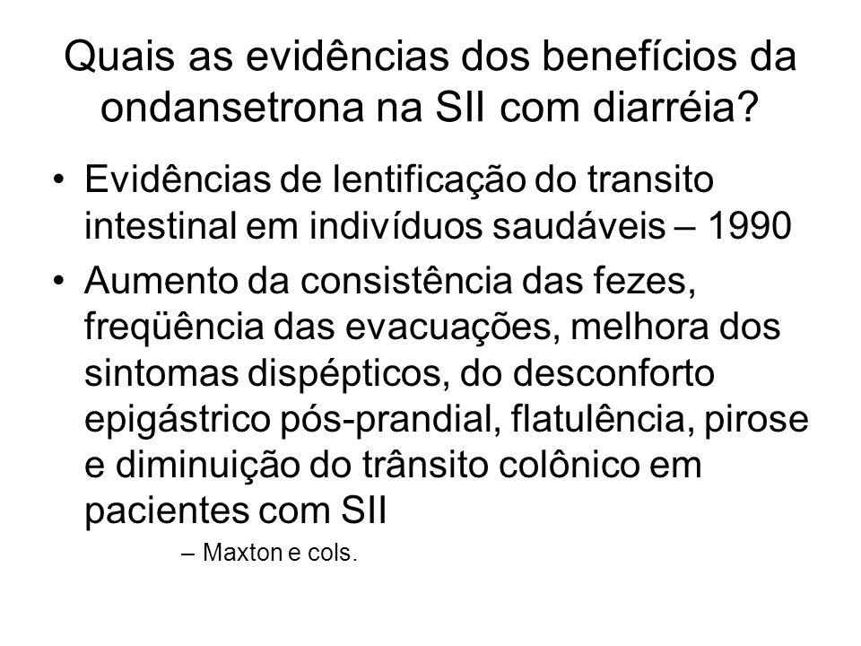 Quais as evidências dos benefícios da ondansetrona na SII com diarréia