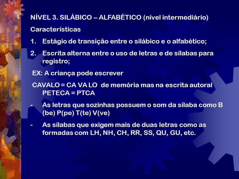 NÍVEL 3. SILÁBICO – ALFABÉTICO (nível intermediário)