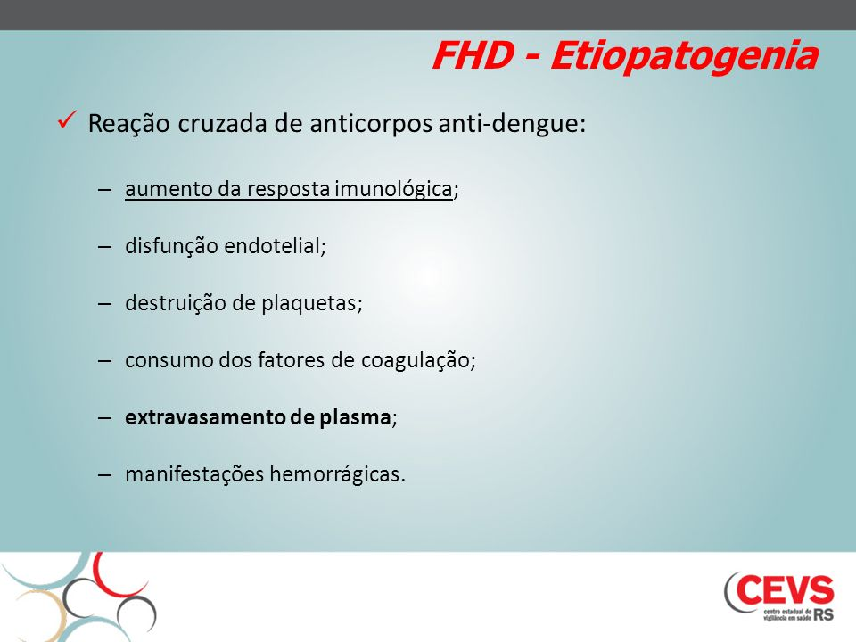 FHD - Etiopatogenia Reação cruzada de anticorpos anti-dengue: