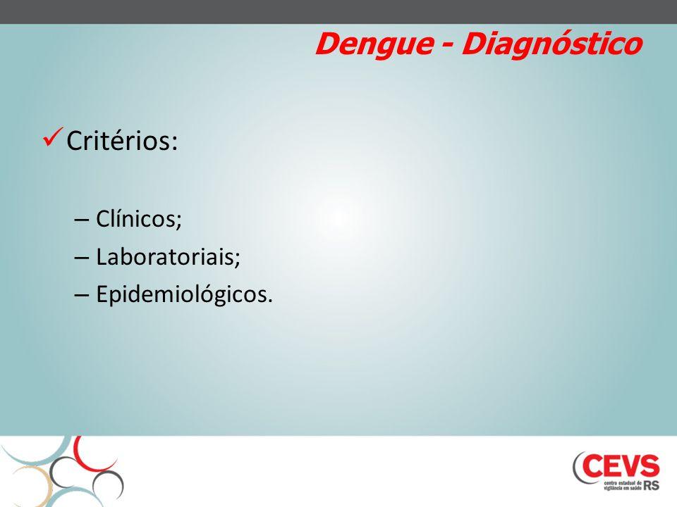 Dengue - Diagnóstico Critérios: Clínicos; Laboratoriais;