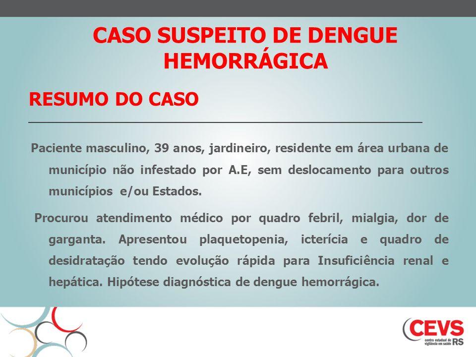 CASO SUSPEITO DE DENGUE HEMORRÁGICA