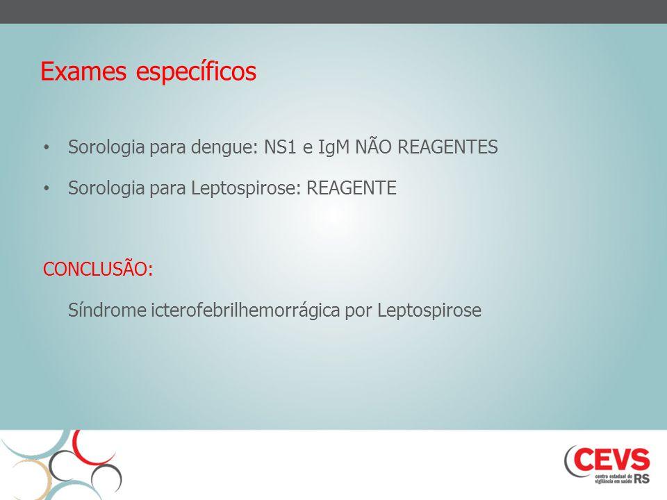 Exames específicos Sorologia para dengue: NS1 e IgM NÃO REAGENTES