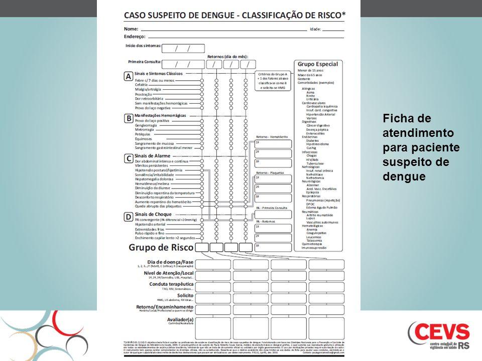 Ficha de atendimento para paciente suspeito de dengue