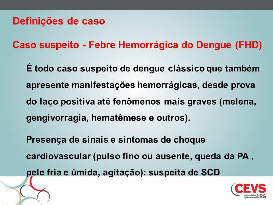 Definições de caso Caso suspeito - Febre Hemorrágica do Dengue (FHD)
