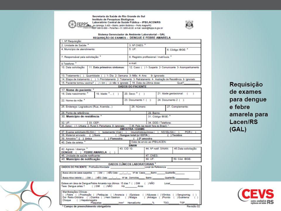 Requisição de exames para dengue e febre amarela para Lacen/RS (GAL)
