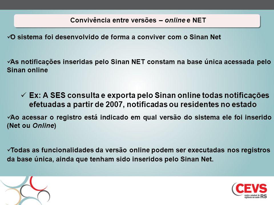 Convivência entre versões – online e NET