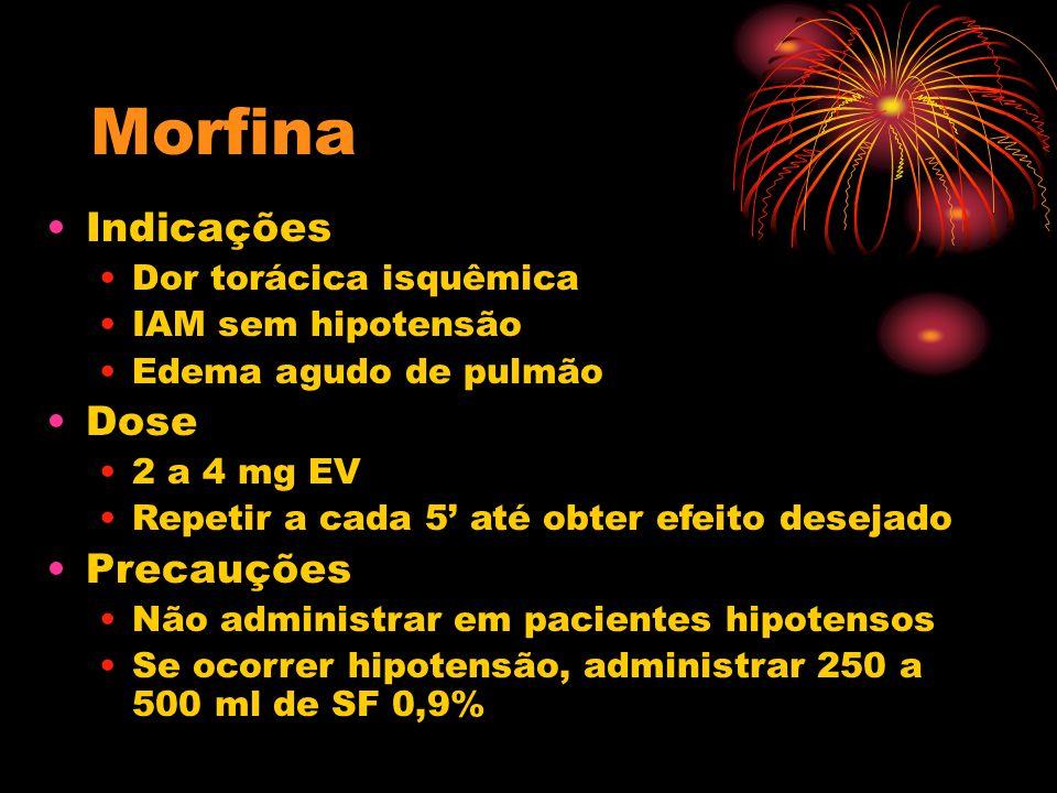 Morfina Indicações Dose Precauções Dor torácica isquêmica