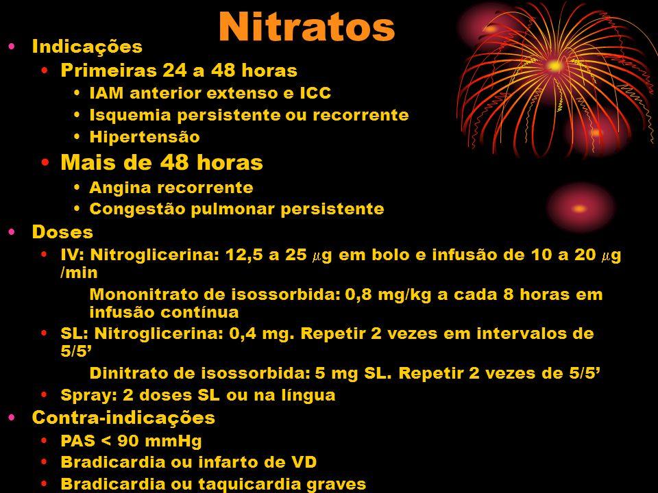 Nitratos Mais de 48 horas Indicações Primeiras 24 a 48 horas Doses