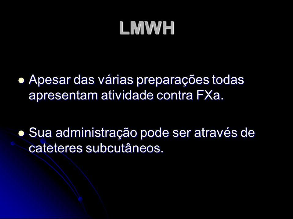 LMWH Apesar das várias preparações todas apresentam atividade contra FXa.