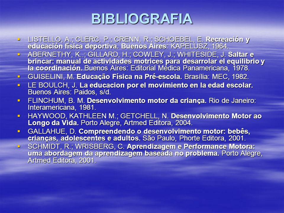 BIBLIOGRAFIA LISTELLO, A.; CLERC, P.; CRENN, R.; SCHOEBEL, E. Recreación y educación física deportiva. Buenos Aires: KAPELUSZ, 1964.