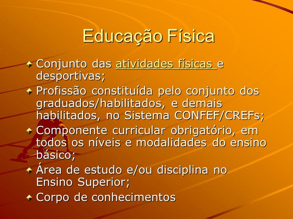 Educação Física Conjunto das atividades físicas e desportivas;