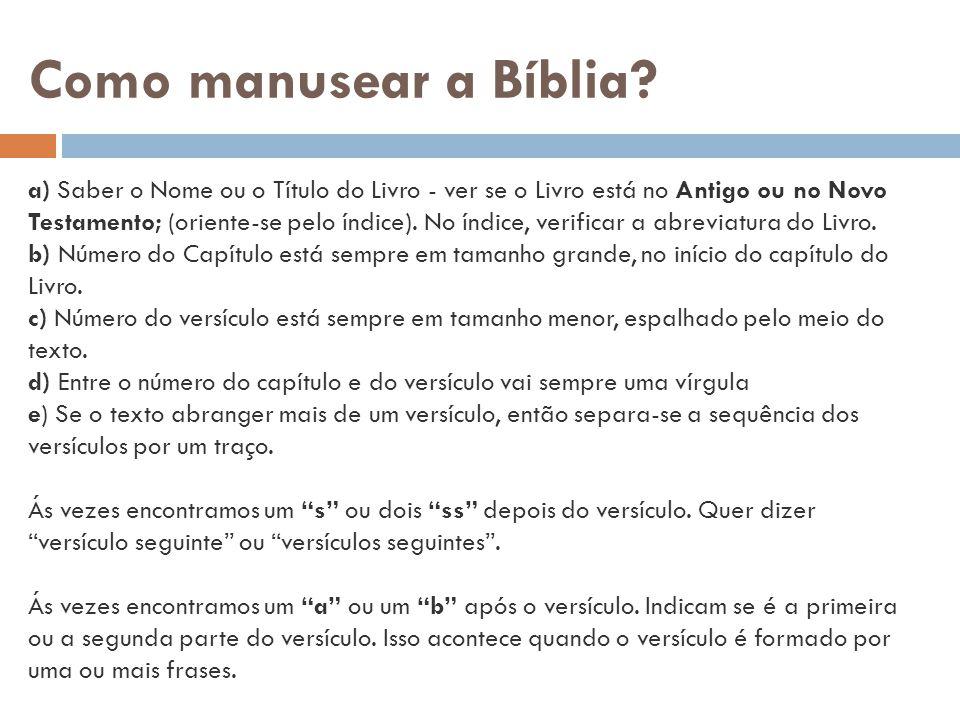 Como manusear a Bíblia