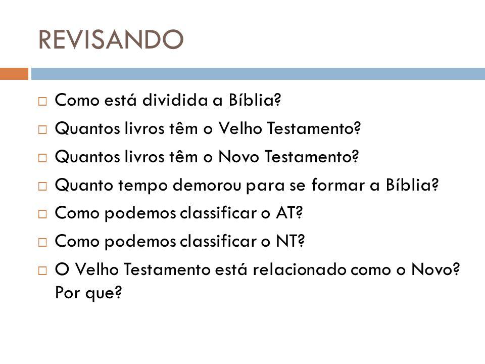 REVISANDO Como está dividida a Bíblia