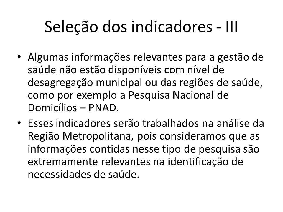 Seleção dos indicadores - III