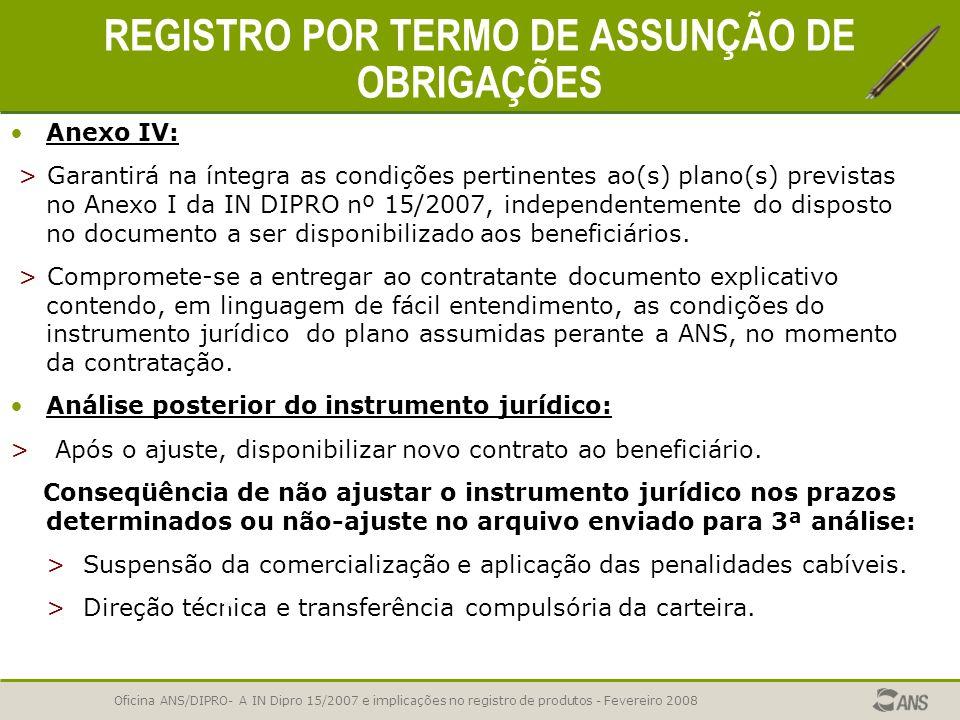 REGISTRO POR TERMO DE ASSUNÇÃO DE OBRIGAÇÕES