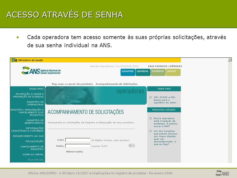ACESSO ATRAVÉS DE SENHA
