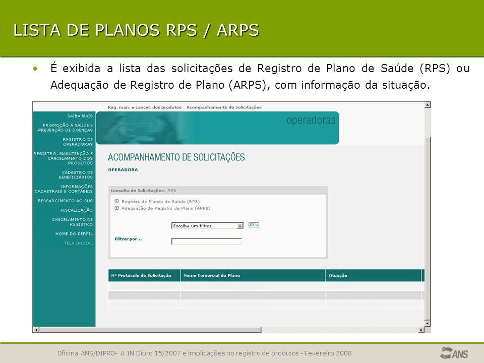 LISTA DE PLANOS RPS / ARPS
