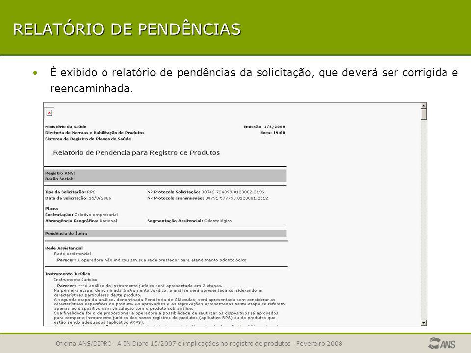 RELATÓRIO DE PENDÊNCIAS