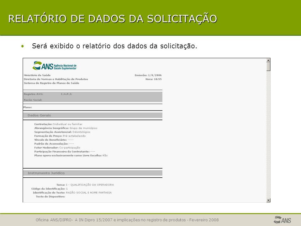 RELATÓRIO DE DADOS DA SOLICITAÇÃO